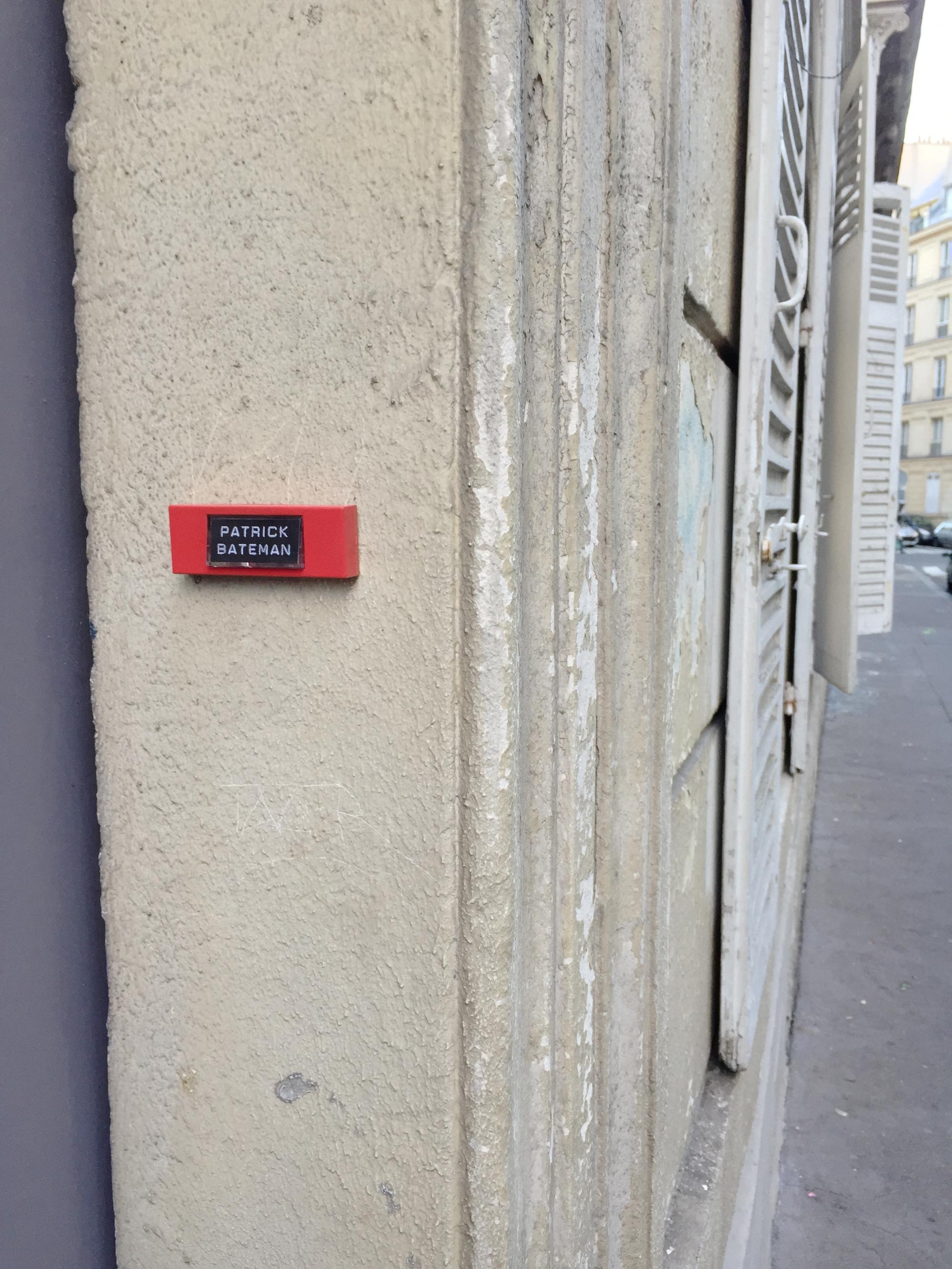 """American Psycho""""Patrick Bateman"""" – Paris 9ème arrondissement – 2014 – Le Sonneur"""