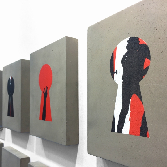 Bells and Prints on concrete at Frag-Art Gallery – Urban Art Fair – 2018 – Paris - Le Sonneur