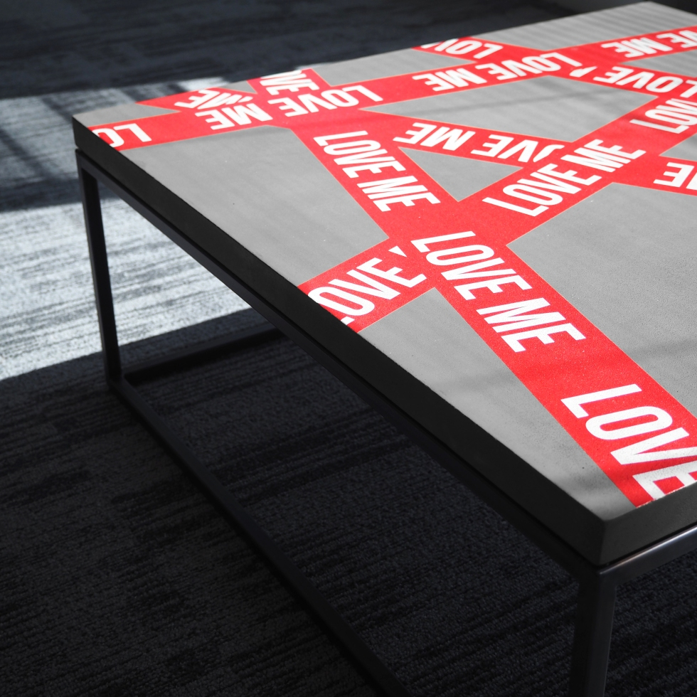 """Love Me"" Table - Fine Art Printed concrete and steel - Limited edition of 30 - More here : www.lyon-beton.com"