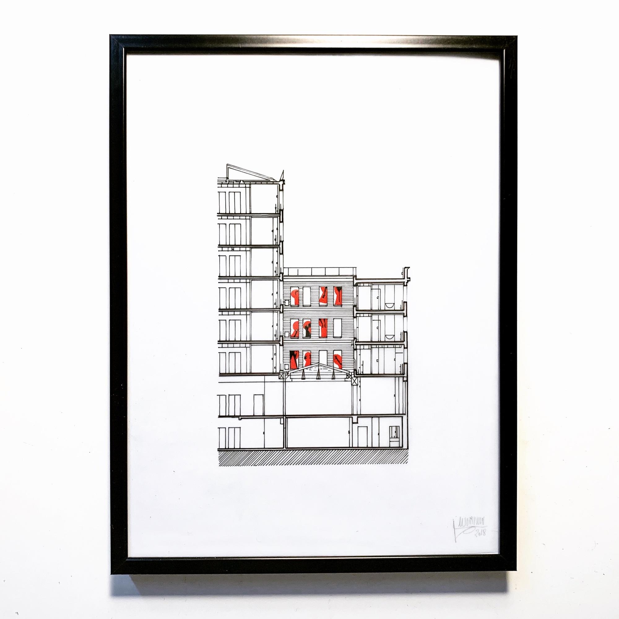 « Rear Windows » Drawings - Paris - 2019 - Le Sonneur