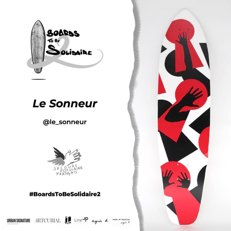 """""""VOYEUR"""" Skateboard Deck - Boards To Be Solidaire 2 - Secours Populaire Français + Agnès B + Artcurial - 2019 - Le Sonneur"""