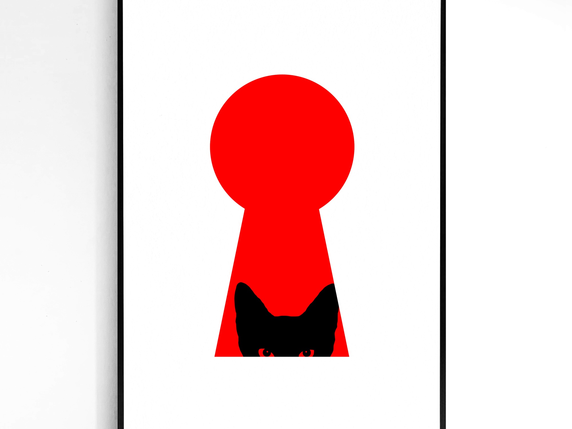 """Cat"" Keyhole - Signed Limited Edition Print (1-20) - Le Sonneur - 2019"