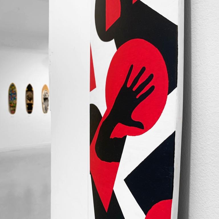 """""""Voyeur"""" Skateboard Deck   Exhibition Boards to Be Solidaire II   Agnès B. 17 Rue Dieu 75010 Paris  4/11/19 - 7/11/19   Le Sonneur   2019"""